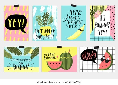 Summer June greeting cards and posters collection. Fun elements, hand drawn lettering, textures set. Sale banners, wallpaper, flyers, invitation, posters, brochure, voucher discount, ticket design