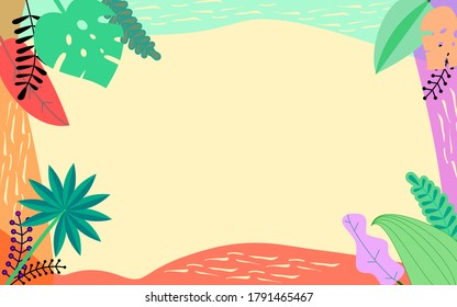 Summer jungle bright colorful border background banner card.