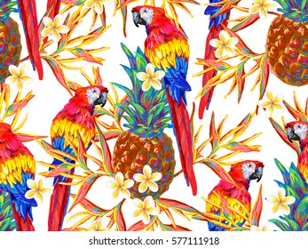 Summer jungle pattern with parrot, tropical flowers and pineapple vector background. Seamless tropical background. Perfect for wallpaper, pattern fills, web page backgrounds, surface textures, textile