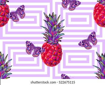 Summer jungle pattern with tropical butterfly and pineapple vector background. Beautiful exotic pattern. Perfect for wallpapers, pattern fills, web page backgrounds, surface textures, textile