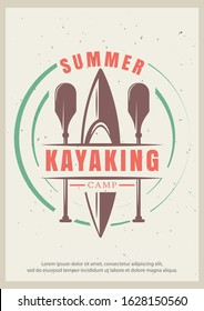 Summer kayaking grunge typography poster design template, vector illustration in retro style. Kayak and paddles, water sport activity concept for banner, flyer.