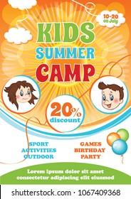 Summer Kid Camp Flyer, vector cartoon background, summer fest template, kid party invitation