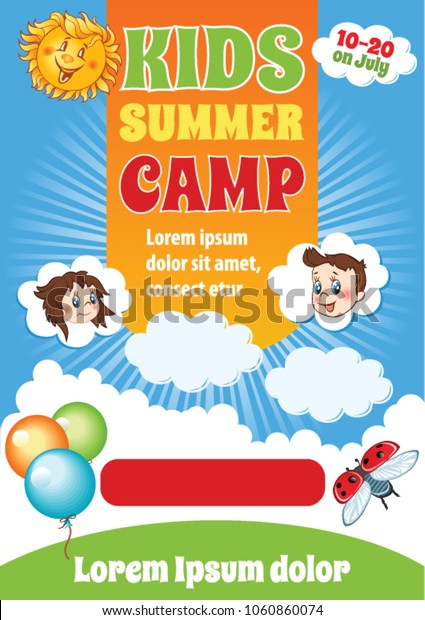 Summer Kid Holiday Template Kids Summer Stock Vector