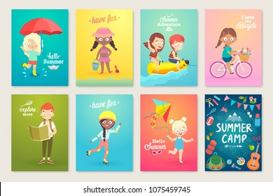Summer Kids card set, swimming, playing on the beach, camping and having fun. Vector illustration.
