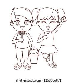 Summer kids cartoon black and white