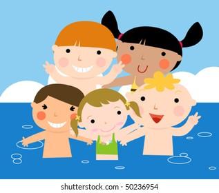 Summer kids having fun