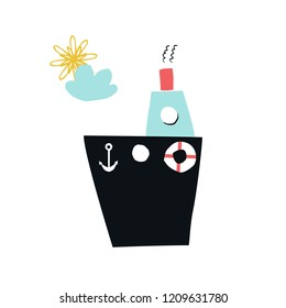 Summer kids poster with cute ship cut out of paper. Vector illustration.