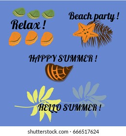 Summer labels, logos and elements set for summer holiday, travel, beach vacation, sun. Vector illustration.