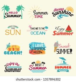 Summer labels, logos, hand drawn tags and elements set for summer holiday, travel, beach vacation, sun. Vector illustration. - Vector illustration