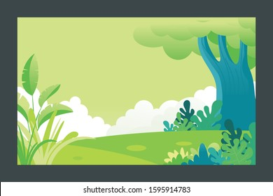 Summer landscape background Vector illustration, with flat cartoon of plants, leaves and forest landscape. with copy space for text, suitable for banner, greeting card, poster, advertising etc.
