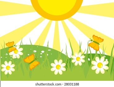 Summer landscape with butterflies. Vector illustration.