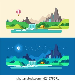 Summer landscape, day and night. Hiking and camping. Vector illustration in flat design style.