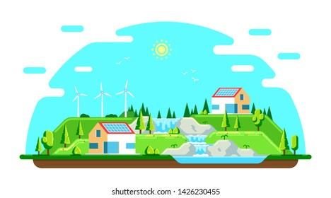 Summer landscape with ecofriendly houses. Solar panels and wind turbines. Flat style illustration. Renewable energy concept.