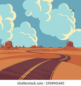 Summer landscape with an empty winding road in the desert with mountains and clouds in blue sky. Decorative vector background with an endless road running through the barren American scenery