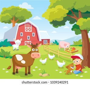 Summer landscape with farm animals and barn