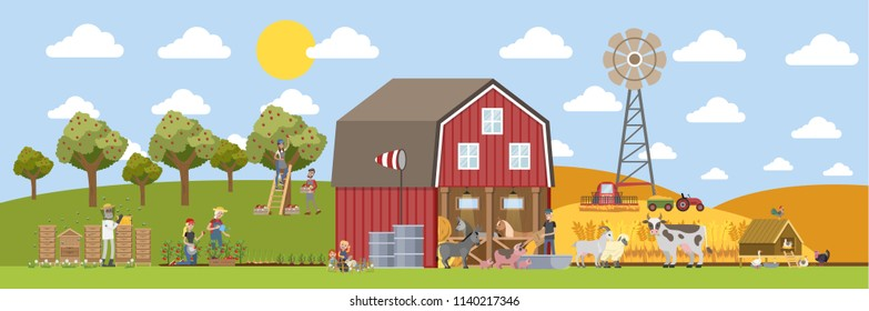 Summer landscape with farm. Farmers working on the field, watering plants and feeding animals. Domestic animals such as cow and pig walking around the house. Living in the village