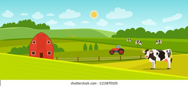 Summer landscape with farmhouse,  tractor and herd of cows on the field. Vector flat style illustration.