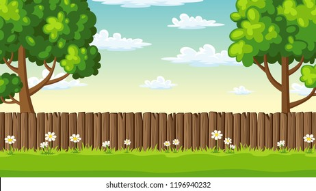 Summer landscape with fence, trees and flowers