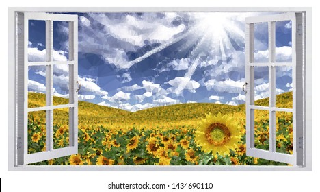 Summer landscape field of sunflowers, the view from the window. Vector low poly art.