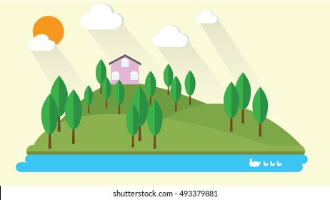 Summer landscape flat design illustration vector