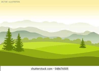 Summer landscape. Flat style vector illustration. Background