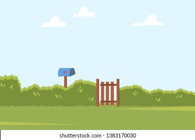 Summer landscape with green bushes fence, wooden side gate and Post box. Home backyard background. Vector illustration