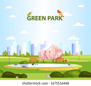 Summer landscape with green city park, little birds, lake, benches, blooming trees and bushes. Place for outdoor activities and rest in the city center. Park background in cartoon flat style.
