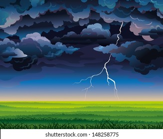 Summer landscape with green field, lightning and stormy sky.