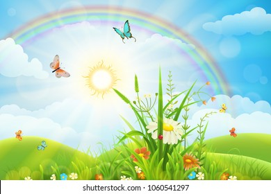 Summer landscape with green grass, flowers, rainbow and sun
