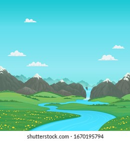Summer landscape with green meadows, river and snow covered mountains with waterfall. Cartoon vector illustration, card, country background, farming banner template.