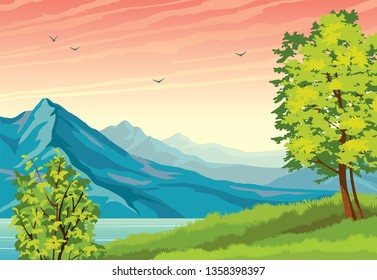 Summer landscape with green tree, grass, blue calm lake and mountains on a sunset sky background. Vector nature illustration.