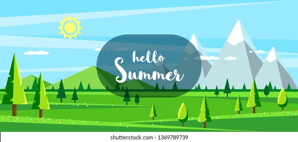 Summer landscape with hills, mountains and trees. Hello summer concept. Flat style illustration.