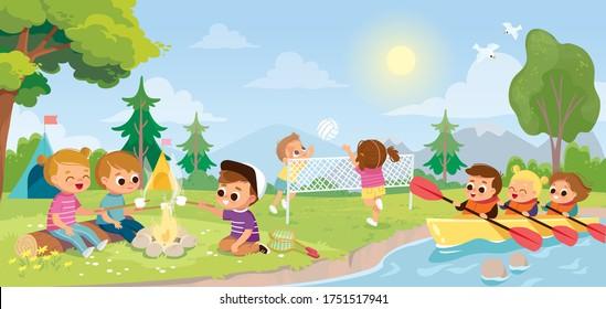 Summer landscape with kids. Children camp.