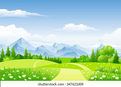 Summer landscape with meadows and mountains