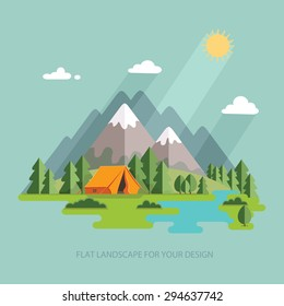summer  landscape. Morning in the mountains. Solitude in nature by the river. Weekend in the tent. Hiking and camping. Vector flat illustration