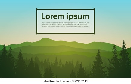 Summer Landscape Mountain Forest Sky Woods Flat Vector Illustration