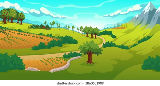 Summer landscape with mountains, green meadows, fields and garden. Vector cartoon illustration of countryside with hills, snow peaks, road and fruit trees. Rural scenery in mountain valley