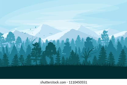 Summer landscape with moutain and forest. Blue sky. Vector Illustration.
