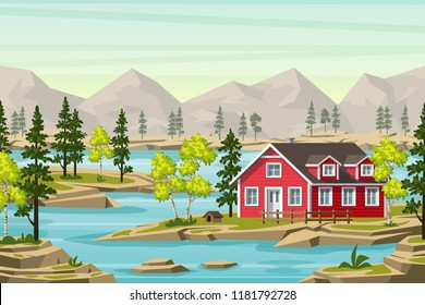 Summer landscape in the moutains, with trees, water and a red house
