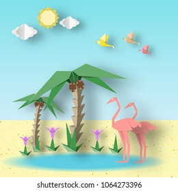 Summer Landscape Paper Origami Concept with Flamingo, Palm, Sun, Sky, Flower. Papercut Style and Cutout Trend. Summertime Scene with Symbols, Sign, Elements. Vector Illustrations Art Design.