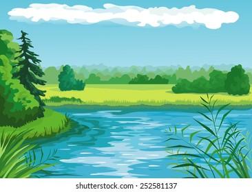 Summer landscape with pond