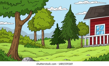 Summer landscape with red house. Hand drawn vector illustration.