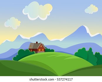 Summer landscape. Rural landscape on the background of meadows and mountains. House to trug in a meadow.