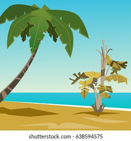 Summer landscape. Sandy beach with palm trees on the beach. Beautiful vector background.