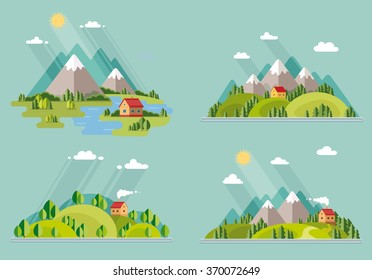 summer  landscape set. Houses in the mountains among the trees, rest in a mountain village the lake and the river. Flat design style vector illustration.