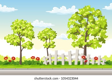 Summer landscape with trees and flowers