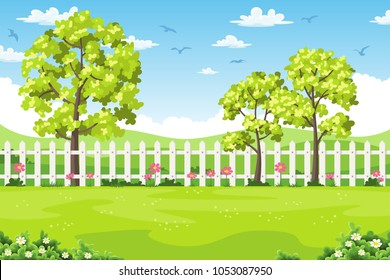 Summer landscape with trees, flowers and fence