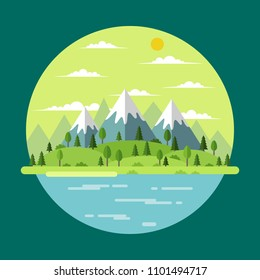 Summer landscape with trees and mountains, vector illustration