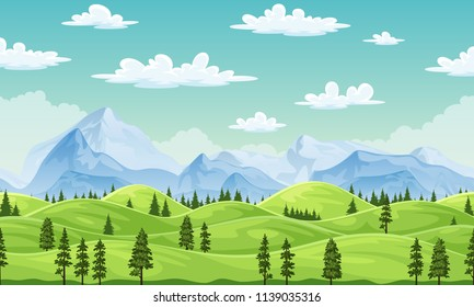 Summer landscape with trees and moutains, illustration