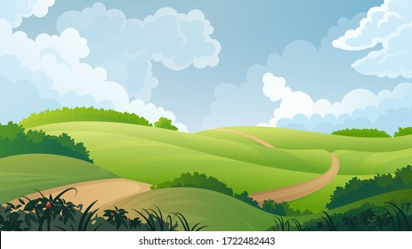 Summer landscape. Vector background with country road passes through the fields.